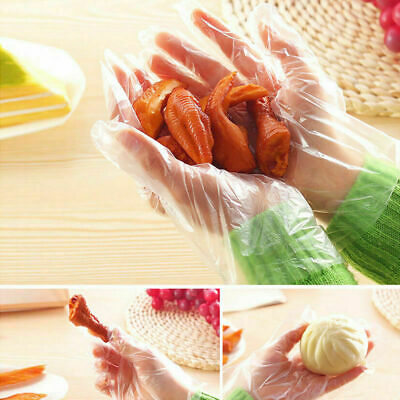 100/200/500Pcs Clear Plastic Disposable Gloves for Kitchen Cooking Cleaning