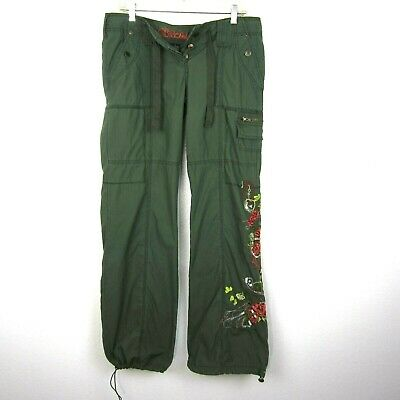 BB Dakota Embroidered Cargo Pants Sz 7 Juniors Army Green EUC