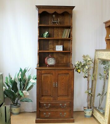Solid Rustic Tall Narrow Welsh Dresser TV Media Drinks Cabinet