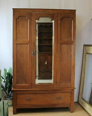 Edwardian Antique Wardrobe With Bevelled Mirror