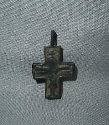 Antique East Europe TOP HIGH AGED USED EARLY MEDIEVAL BRONZE CROSS PENDANT