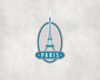 2 x Paris France Vinyl Sticker iPad Laptop Luggage Travel Vintage Label #4331