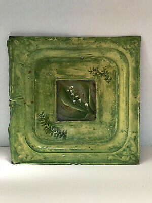 """OOAK Antique Tin Ceiling Tile painted Lily of the Valley  12""""x12"""""""