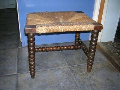 Antique Wooden Bobbin Leg & Stretcher STOOL 12 x 15ins Wooden Footstool vgc