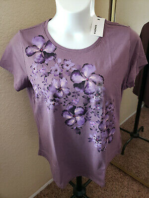 Women's NWT SONOMA Goods For Life Size XL  Plum Floral Scoop Neck