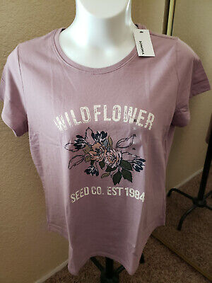 """Women's NWT SONOMA Goods For Life Size XL Lavender """"Wildflower"""" Scoop Neck"""
