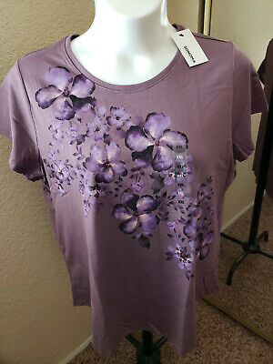 Women's NWT SONOMA Goods For Life Size XXL  Plum Floral Scoop Neck