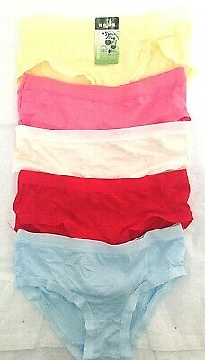 Ladies Girls Pack Set Of 5 Cotton Bamboo Seamless Briefs  Multipack Uk Size 4-8