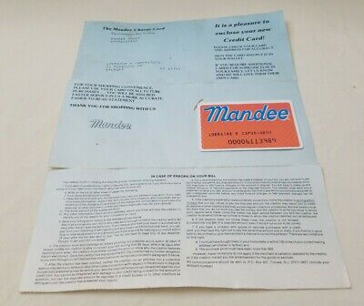 Vintage The Mandee Charge Card Store Credit Card Advertisement Movie Props