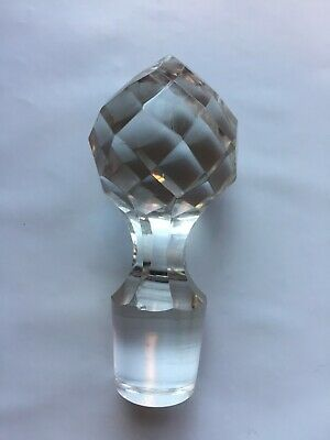 Vintage Crystal Ball Faceted Peaked 'Globe' Decanter Stopper Only