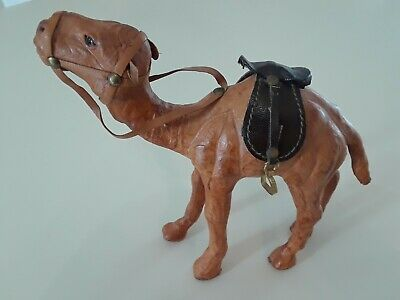 Vintage Handcrafted Leather Wrapped Camel Figurine