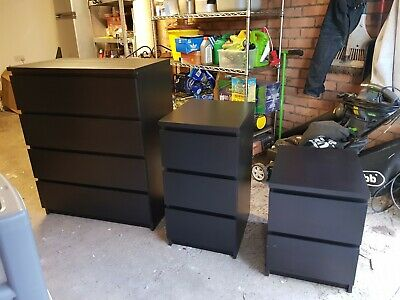 IKEA Malm 4 Drawer Chest of Drawers, 2 and 3 Drawer Bedside Tables - brown black