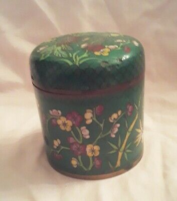 Vintage  Antique Chinese green turquoise Cloisonne Tobacco Jar Flowers floral