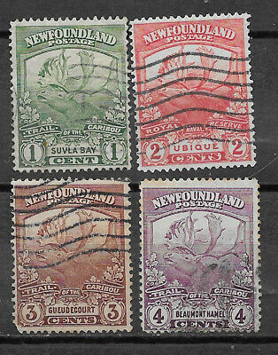 Newfoundland , Canada , 1919 , Caribou , Set Of 4 Stamps , Perf , Used , Cv$2.55