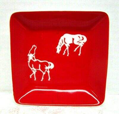 Mid Century Modern Trinket Dish Horse Sketches red on white Equestrian Western