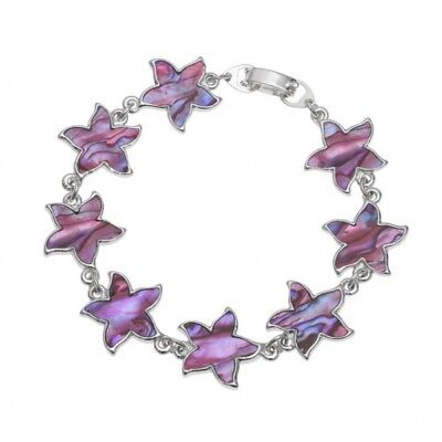Pink Abalone / Paua Shell Flower Chain Silver Bracelet