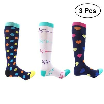 3 Pairs of Women Compression Hose Knee High Stocking Sweat-absorbent Sport Socks