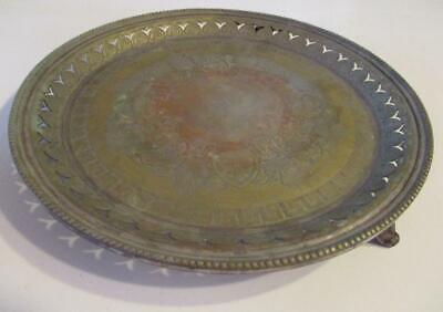 Antique Sheffield PADLEY PARKIN & STANIFORTH Silver Footed Tray Hallmarked 1850s