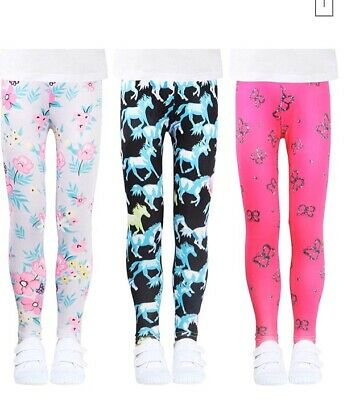 3 Pairs LUOUSE Girls Stretch Leggings  Kids Plain Full Length Children