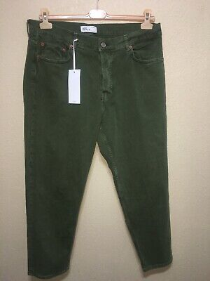 Zara Man GREEN Denim Jeans Relaxed Fit Tapered LEG Loose THIGH Pant SZ US 36 NEW