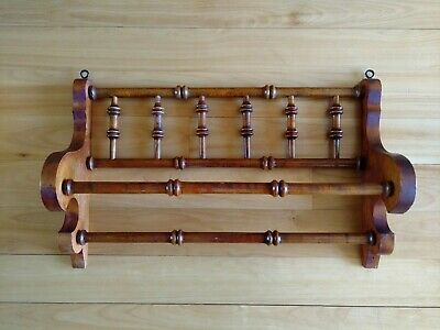 Antique Turned Spindle Victorian Wooden Double Bar Towel Rack