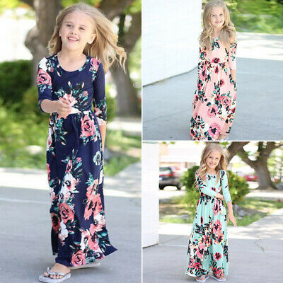 Girls Kids Floral Long Maxi Dresses Long Sleeve Round Neck Beach Casual Clothing