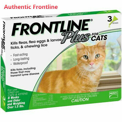 Frontline Plus for Cats & Kittens Over 1.5 lbs,Flea and Tick Treatment,3 Doses