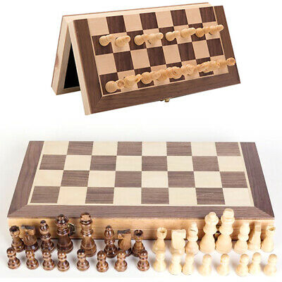 Folding Large Wooden Chess Set High Quality 32 Piece Chessboard Hand Crafted New