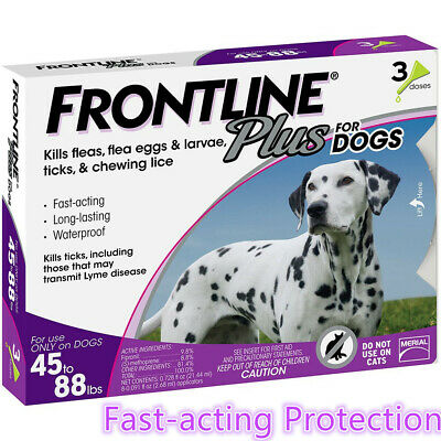 Frontline Plus for Dogs Flea&Tick Treatment Control For Dogs (45-88lbs), 3 Dose