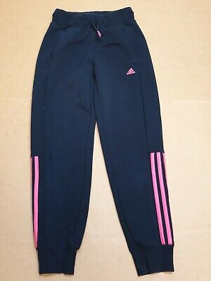 Bb994 Girls Adidas Black Pink Striped Tracksuit Bottoms Age 9-10 Years W24 L25