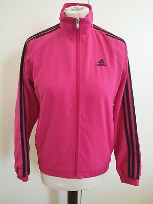 Cc888 Girls Adidas Pink Black Stripes Full Zip Tracksuit Jacket Age 11-12 Years