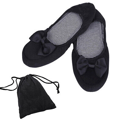 1 Pair Womens Roll Up Shoes Fold Up Ballerina Bow Flat Ballet Pumps Home Shoes
