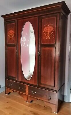 Edwardian Inlaid Mahogany Double Wardrobe