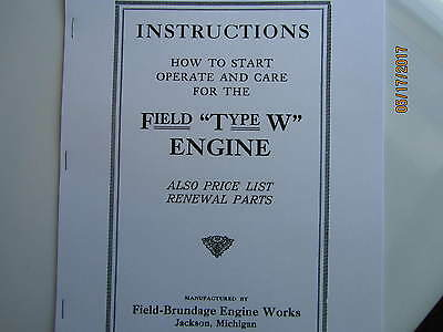 Field  Brundage Type W Gas Engine  Instruction/Parts  Manual