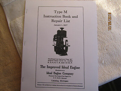 1917 Ideal type M Gas Engine Instruction & Parts Manual