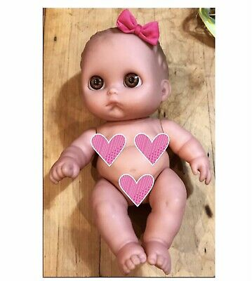 Berenguer Doll Infant Girl Brown Eyes Hair Bow Realistic Soft Touch Skin