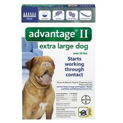 Bayer Advantage II for Dogs Over 55 lbs - 6 Pack - FREE Shipping! NEW