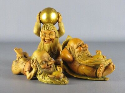 3 Statue Wooden Shapes Gnome Carved Anri and Janon Ortisei Xx Century
