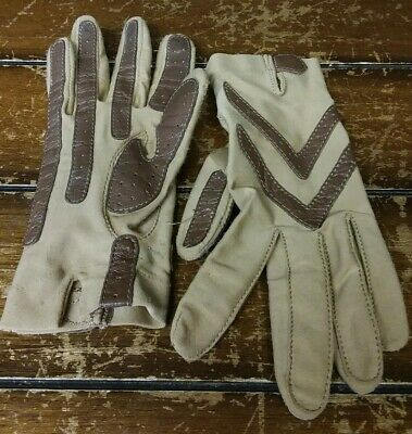 Vintage Woman's Isotoner Two Tone Brown Driving Gloves