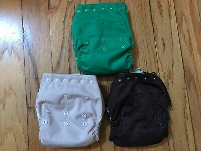 Kissas Marvels Kissaluvs Snap Cloth diaper Lot 3 AIO green brown all in one