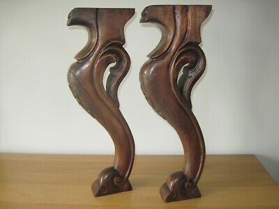 Pair of Antique Scrolled Carved Mahogany Legs/Shelf Brackets