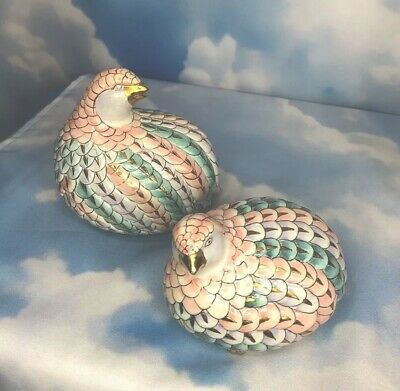 HFP Macau Toyo Hand Painted Porcelain Bird Figurines Pastels Metallic Gold Trim