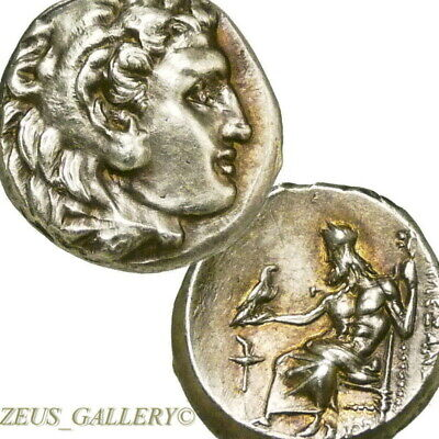 ALEXANDER the Great LIFETIME Issue R! AU Ancient Greek Silver Coin Herakles Zeus