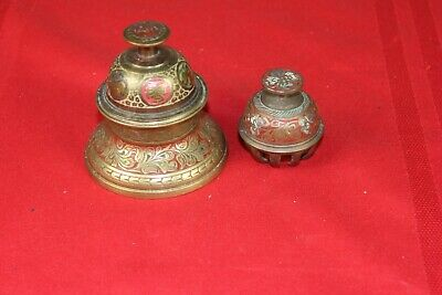 India Brass Etched Floral Elephant Claw Temple Bell / Stand Plus 2nd Bell
