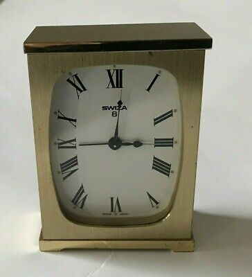Vintage Swiza Swiss Made 8 Day Mantle Wind Alarm Clock Brass Tone Works Great!