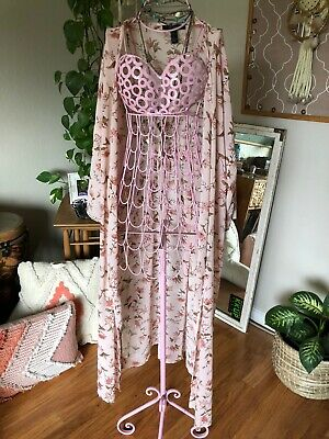 Womans Forever 21 Robe Floral Bating Suit Cover Kimono Size Small