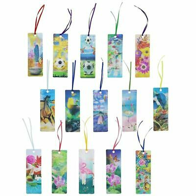 30x 3D Lenticular Bookmarks Book Marks with Tassel for Kids Boys Girls Students