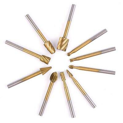 10pcs HSS Router Grinding Burr Wood Cutter Rotary Files Set Tools Accessories