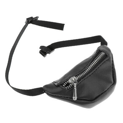 Fashion PU Leather Zipper Waist Bag Fanny Pack for 1:3 BJD Dolls Accessory Black