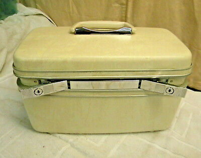 SAMSONITE TRAIN VINTAGE CASE Cream/Tan Marbled MAKEUP CASE LUGGAGE w/ 2 Keys